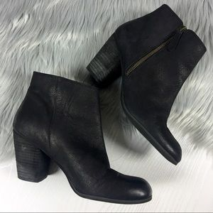BP TROLLEY Black Leather Ankle Boots Booties Zip